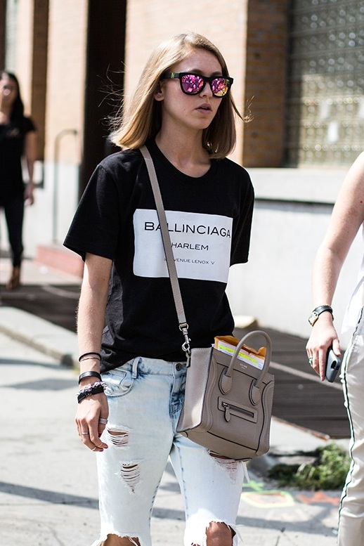 Le Fashion Blog Street Style Mirrored Sunglasses Ballinciaga Graphic Tee Distressed Jeans Via A Love Is Blind Close Up 91272