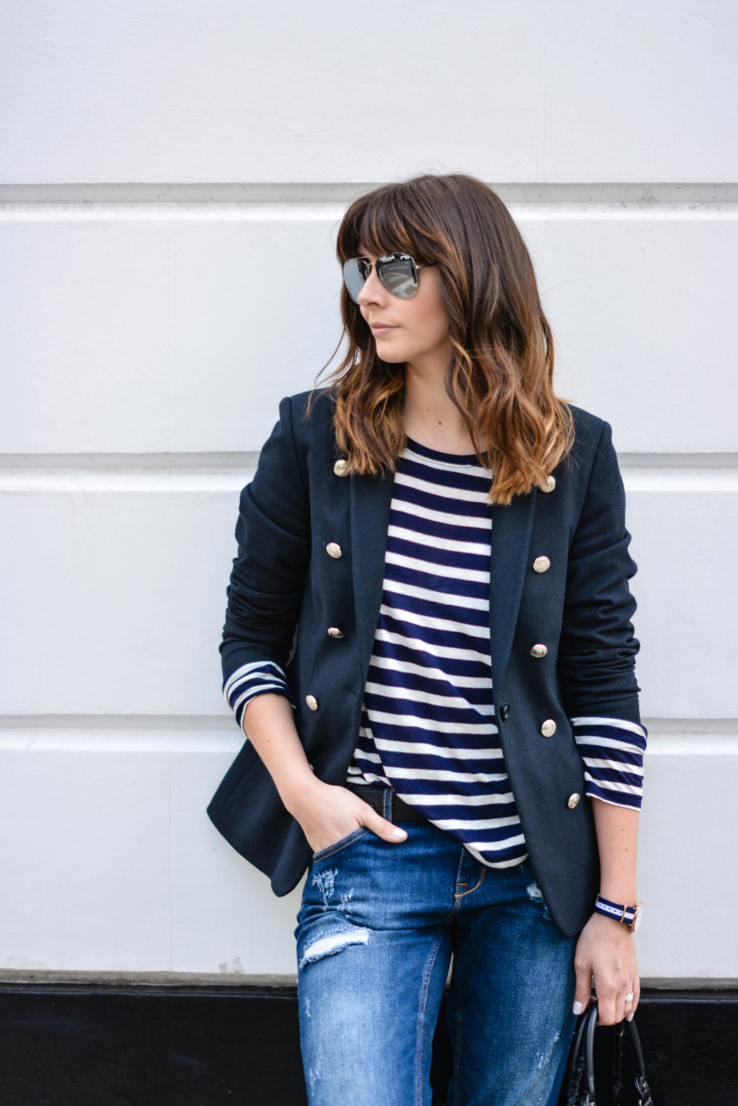 EJSTYLE Emma Hill Daniel Wellington Glasgow watch breton stripe top tshirt navy blazer Ripped boyfriend jeans mirror aviator sunglasses street style c12a7