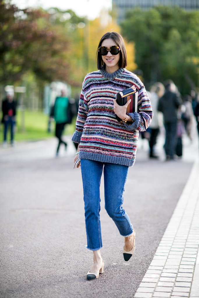 eva chen marled striped sweater cropped jeans two tone chanel heels Paris Fashion Week Street Style Spring 2016