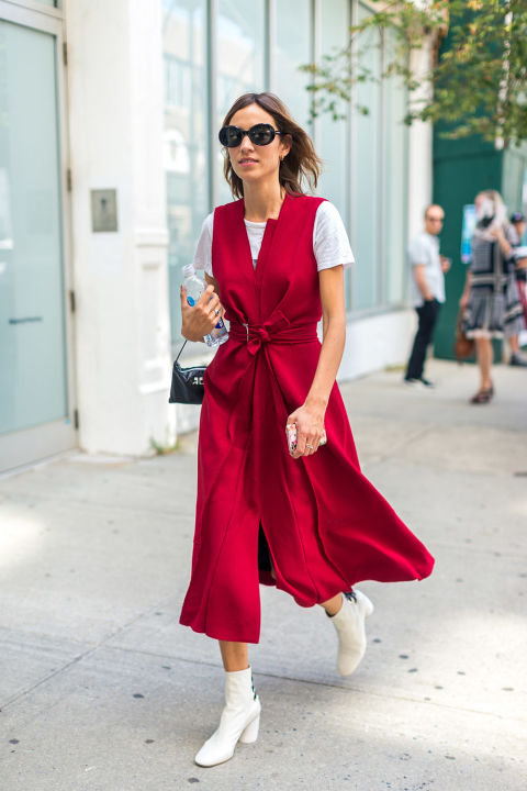 wrap dress red white boots platform mod booties nyfw street style hbz alexa chung