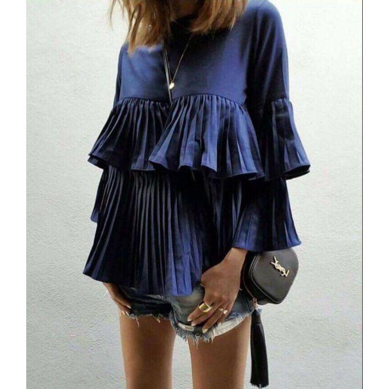 claudia dark blue blouse