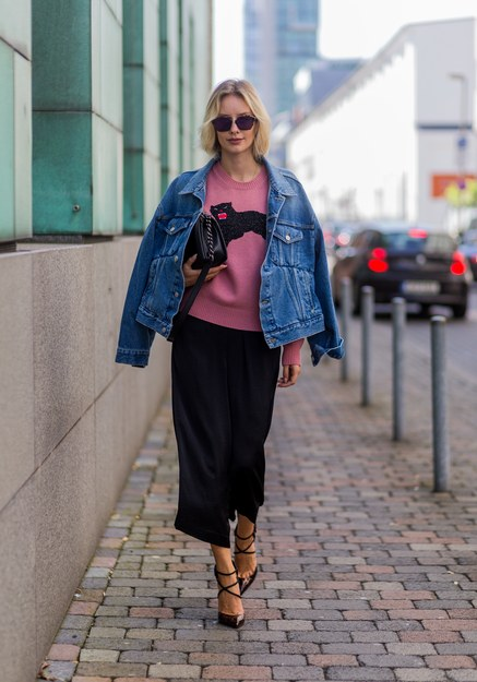 denim jacket street style balenciaga