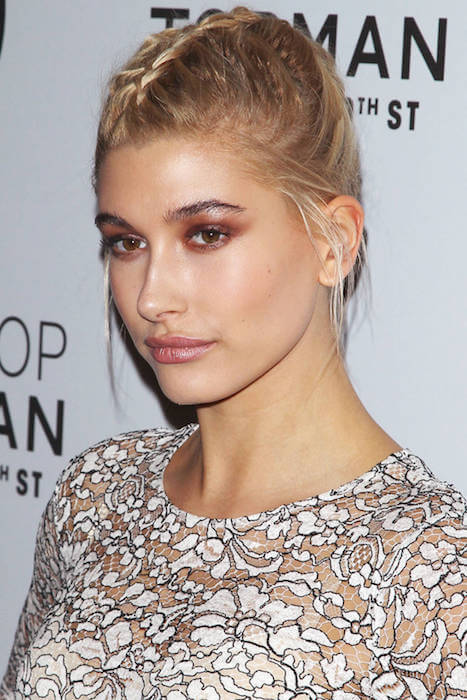 Hailey Baldwin braided hairstyle 2015