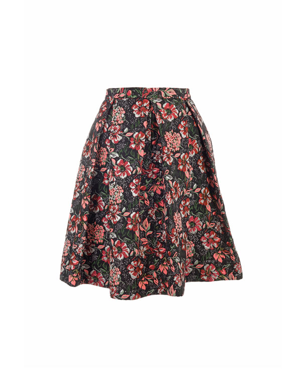 0094069 brocade skirt with floral pattern