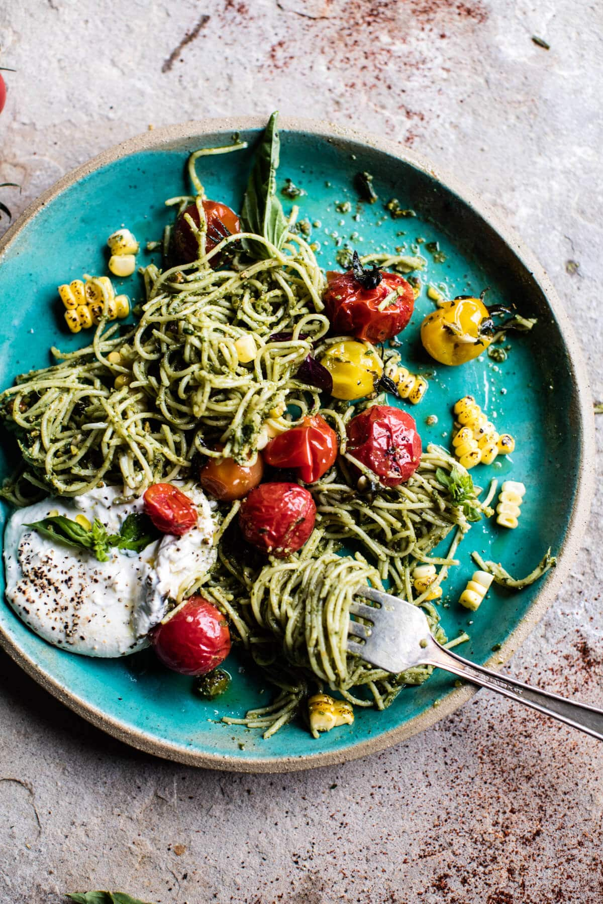 Charred Tomato and Corn Pesto Pasta 8