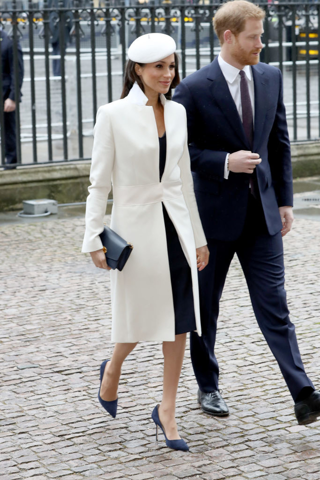 Meghan Markle white coat commonwealth day 1