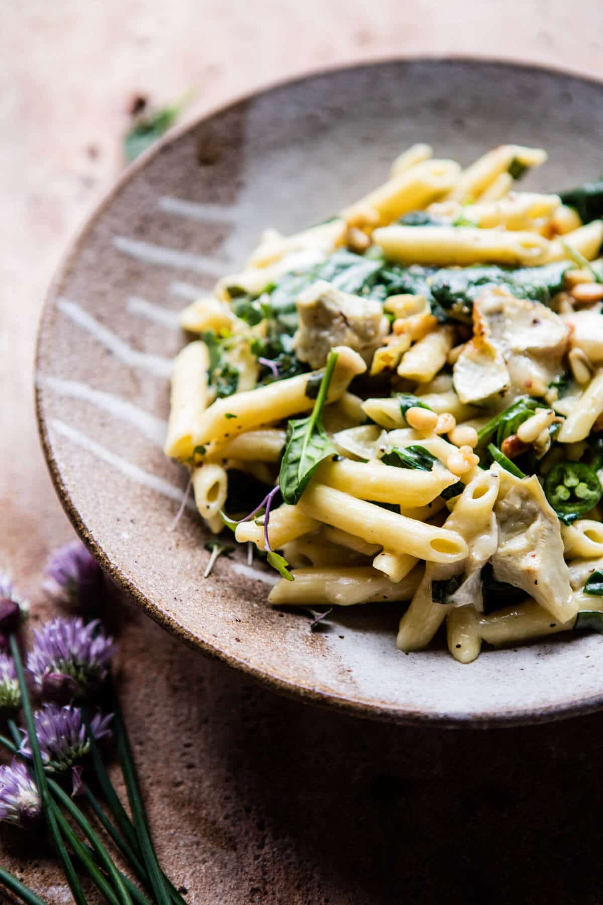 Lemony Spinach and Artichoke Brie Penne Pasta 6