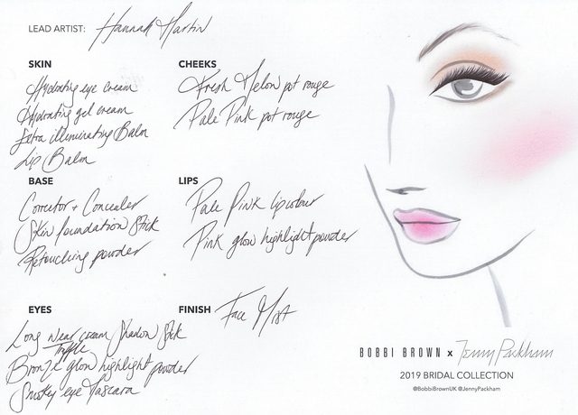 3.BOBBI BROWN x JENNY PACKHAM SS19 BRIDAL COLLECTION FACE CHART