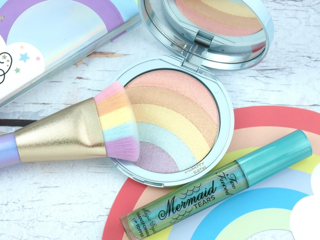 too faced lifes a festival rainbow strobe highlighter review swatches 2