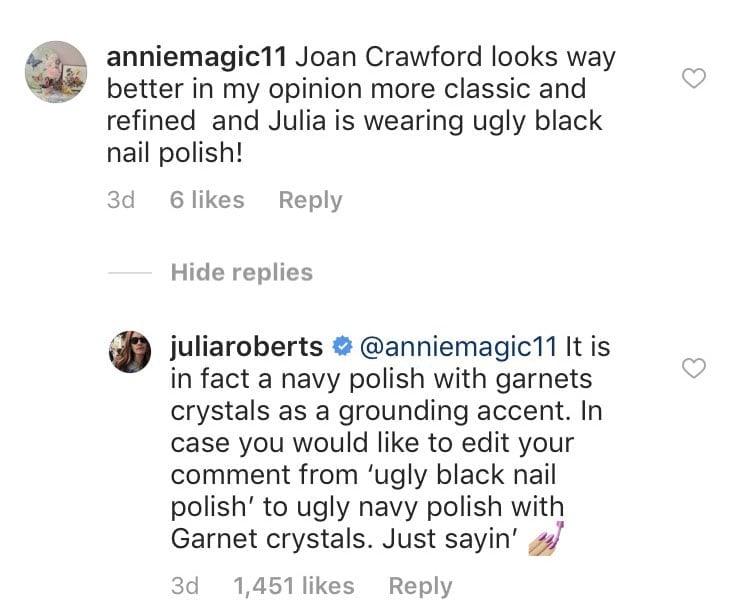 Julia Roberts Clapback About Her Manicure