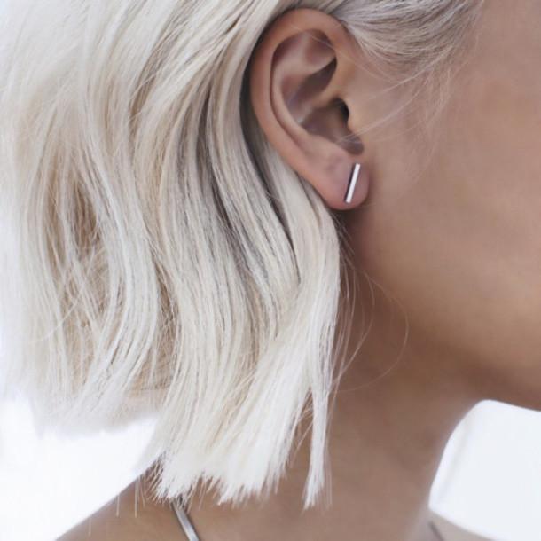 cfmzkv l 610x610 jewels line modern silver earrings hipsterwishlist favoriteaccessories2015 shorthair jewelry barearrings earring stud bar minimal jewlery earing clean