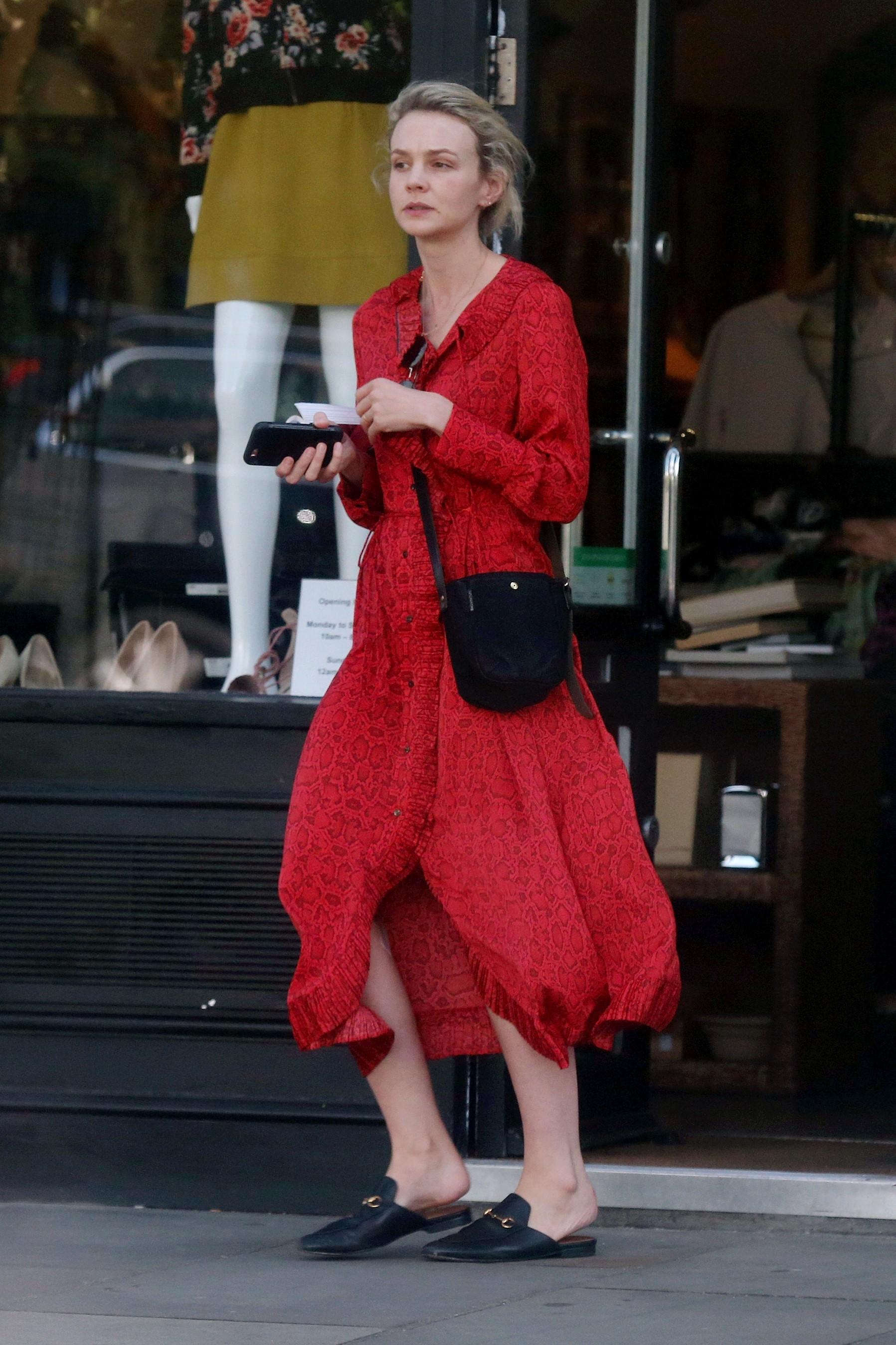 Carey Mulligan wearing MANGO dress in London