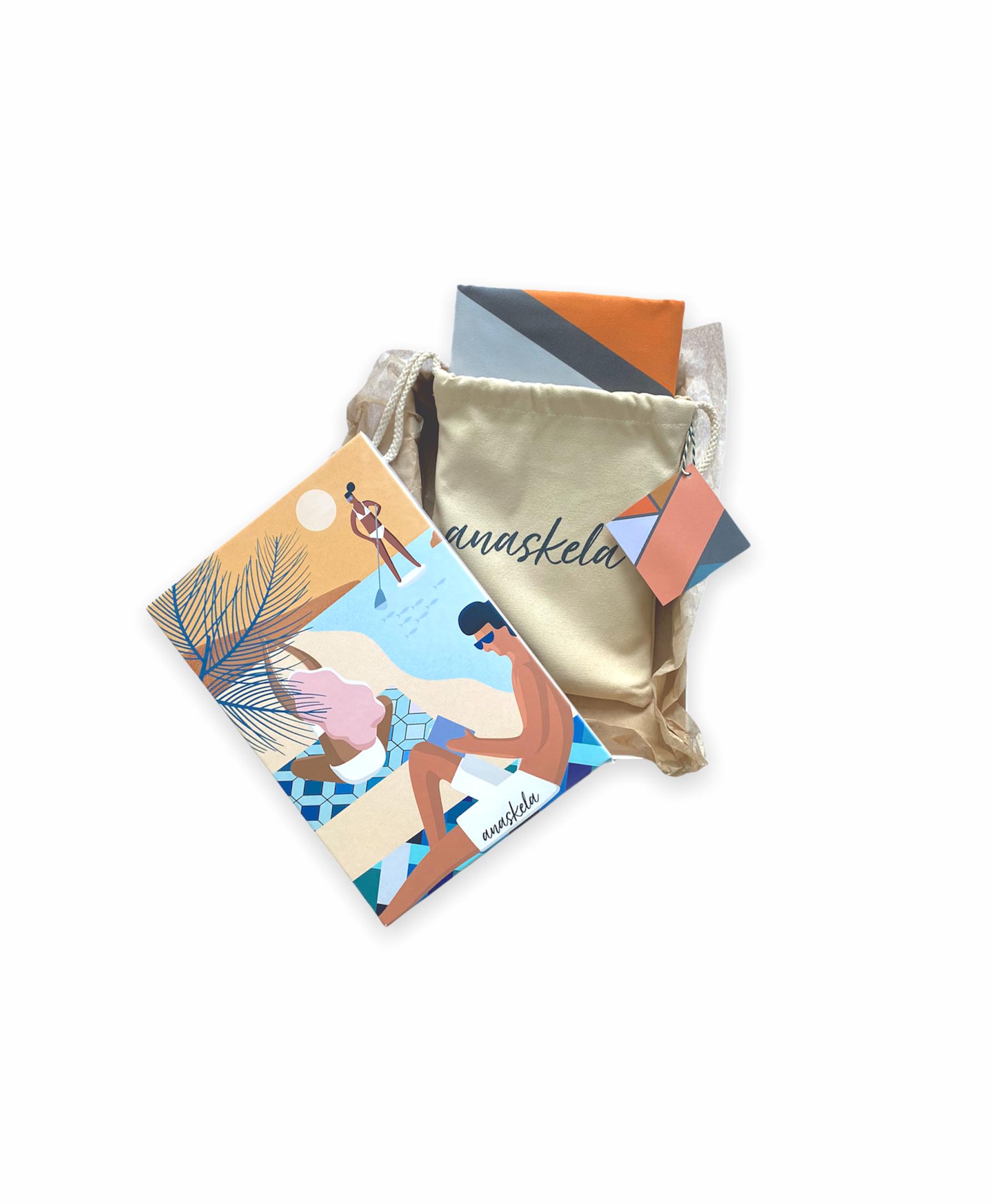Geometria towel gift box wishbone peach