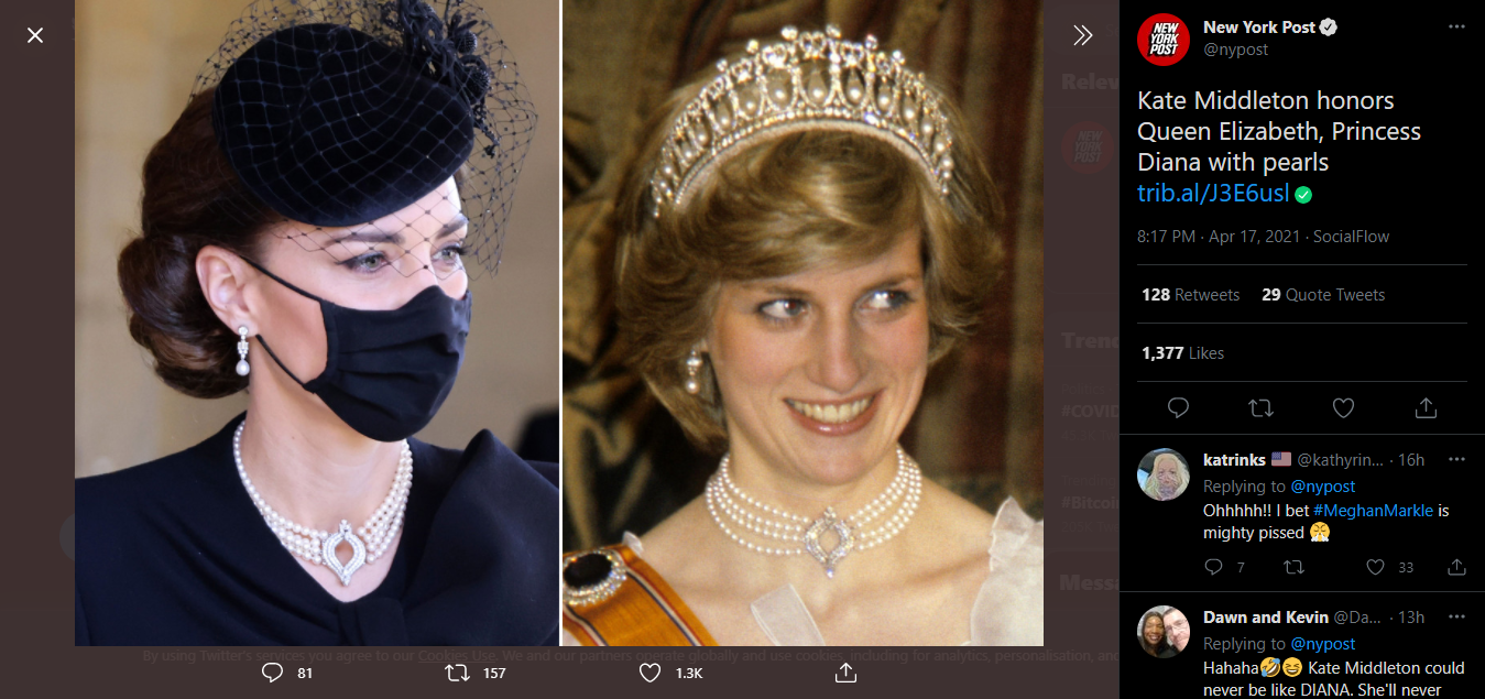 13 New York Post on Twitter Kate Middleton honors Queen Elizabeth Princess Diana with pearls