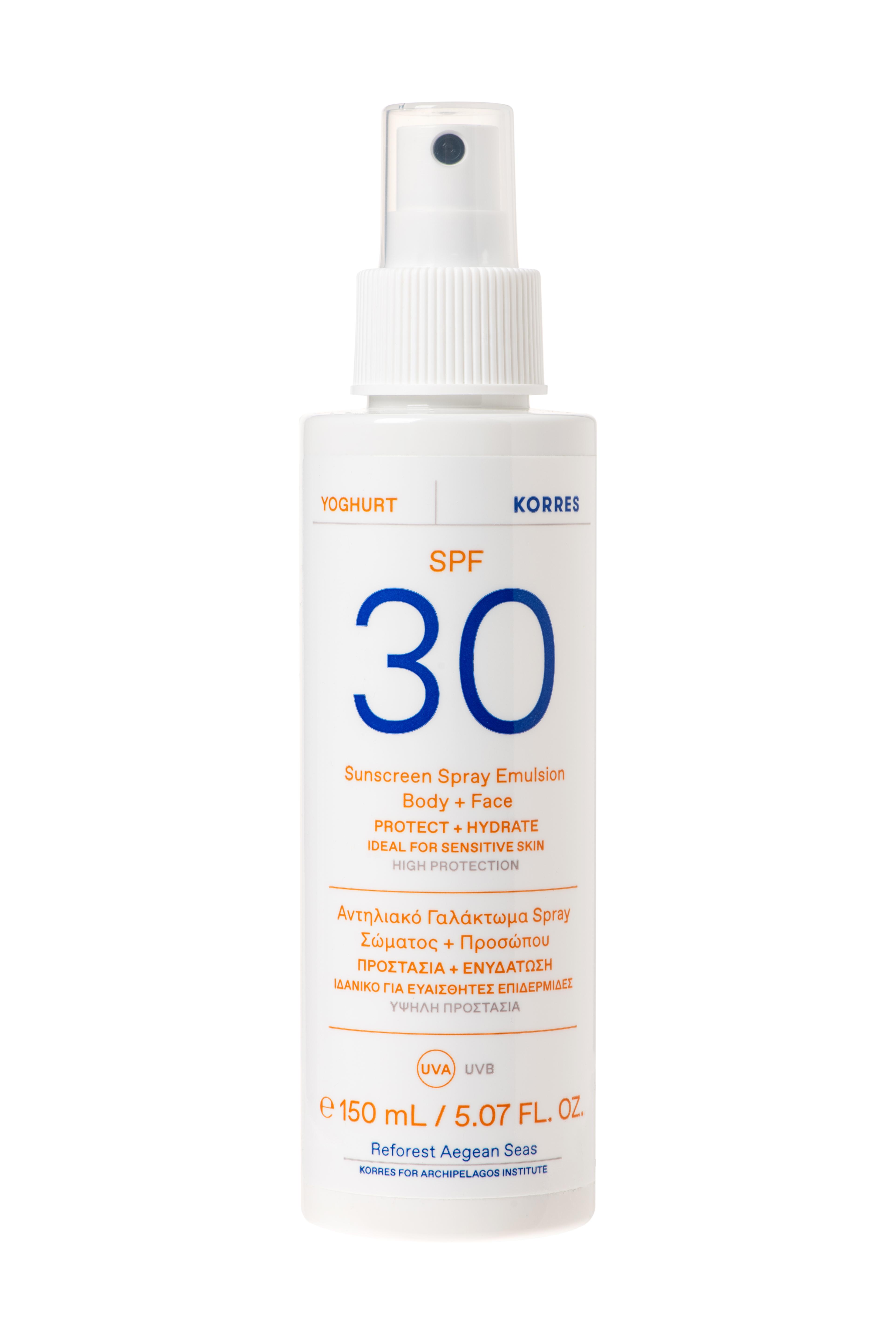 KORRES Γιαουρτι Αντηλιακο Γαλακτωμα Spray ΣωματοςΠροσωπου SPF30